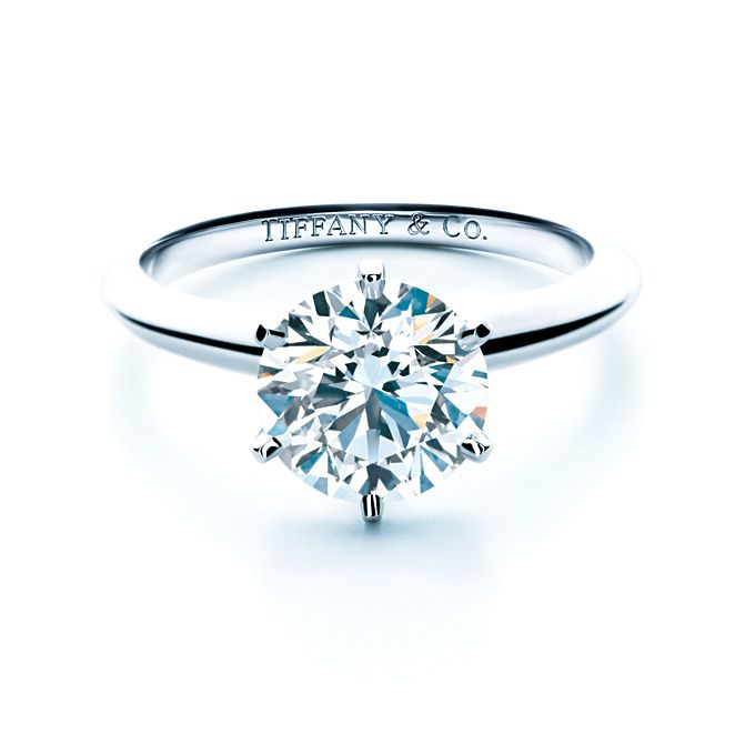 Awesome Brides Round Cut Engagement Rings Tiffany setting engagement ring in platinum