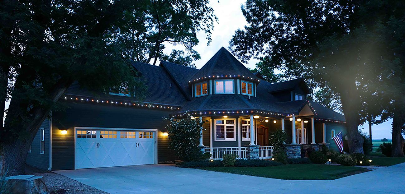 Changing Our Oelo Permanent Holiday Lighting System To Red Whites And Blue For Veterans Day And 4th Of July Colorado Homes Holiday Lights Windsor Homes