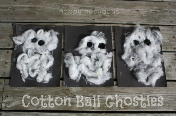 Cotton Ball Ghost Craft for Toddlers - Happy Hooligans