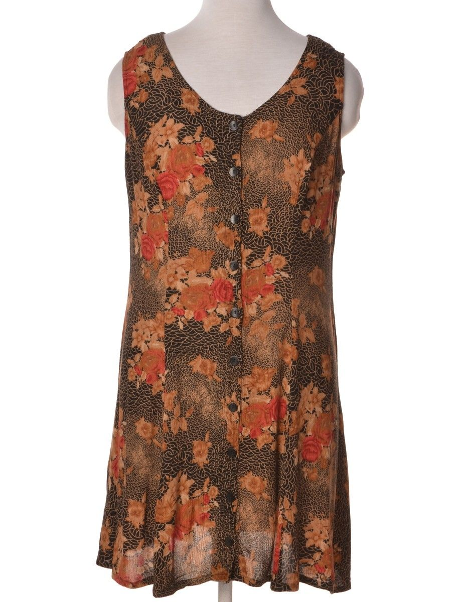 Vintage beyond retro label short dress orange with a round neck
