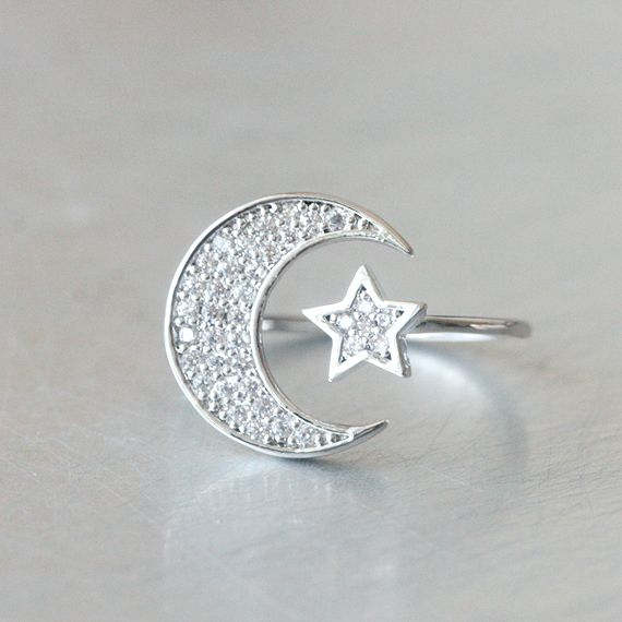 Solid Sterlingsilver Ring Set Moon And Stars