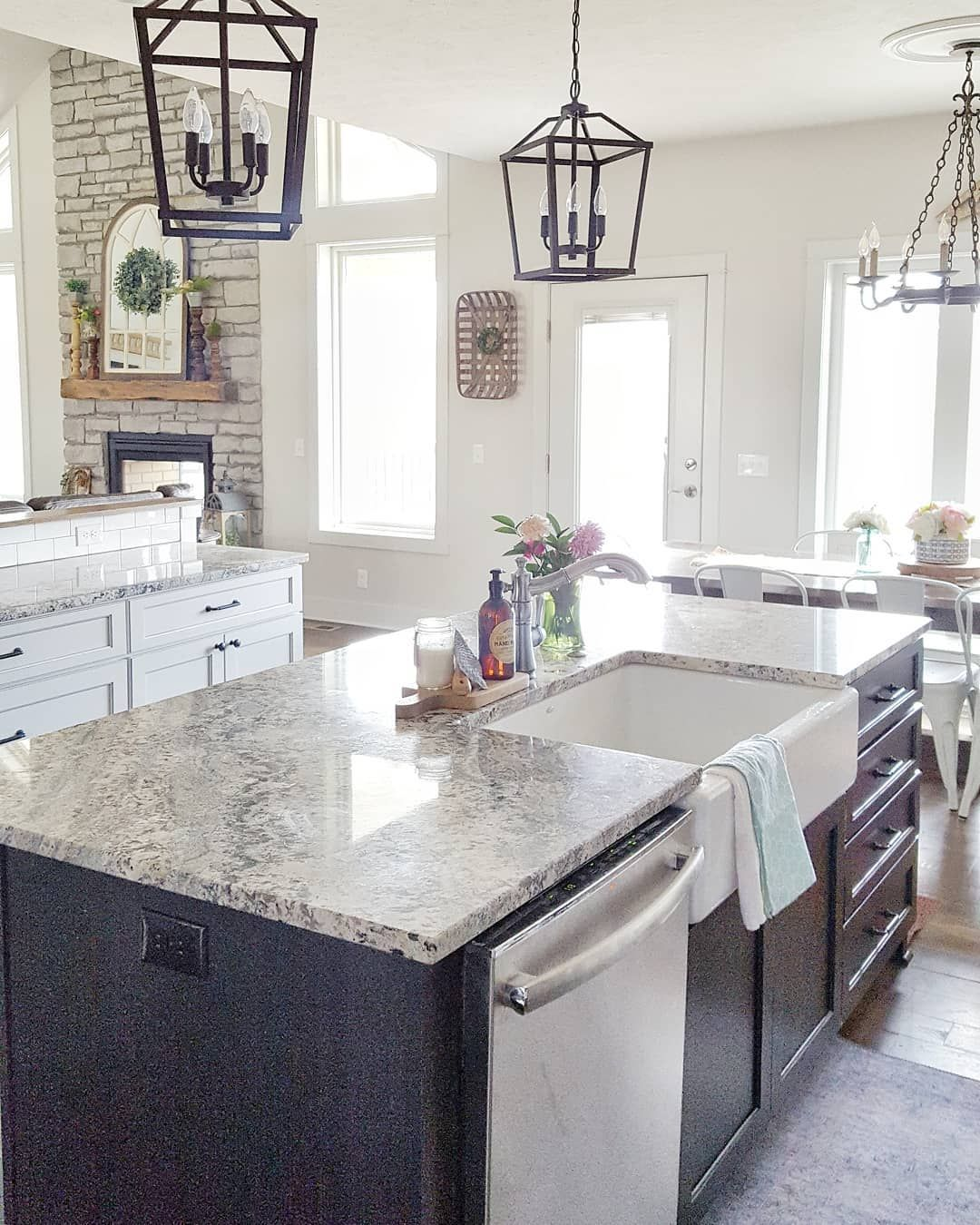 black and white farmhouse kitchen with vaulted living room lantern lights stainless steel ap on farmhouse kitchen black and white id=19632