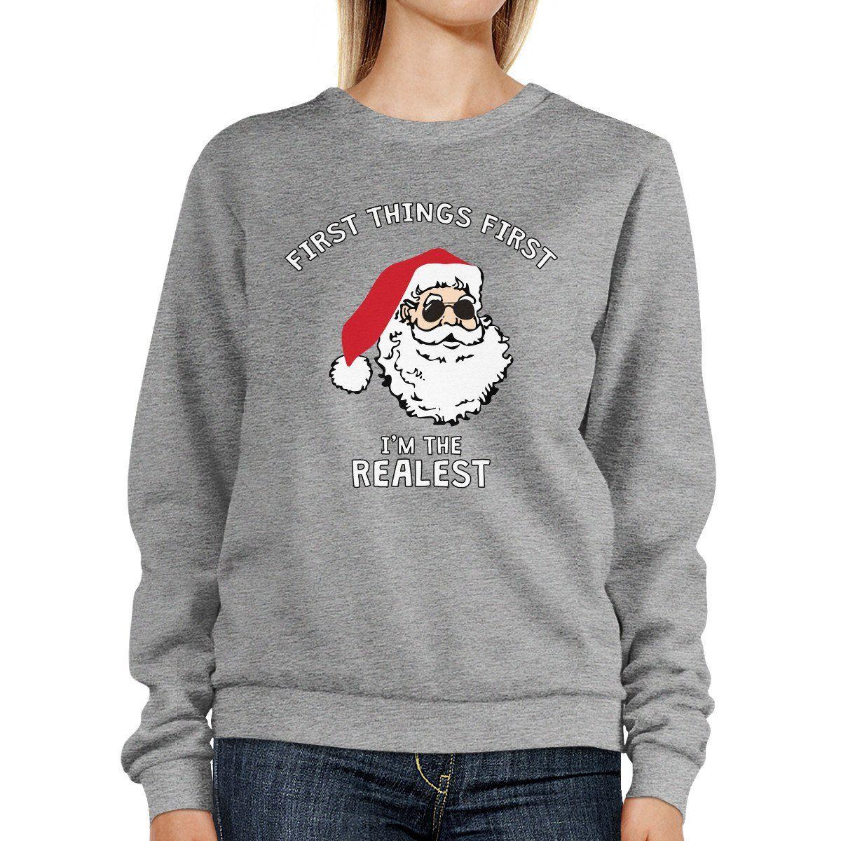 Realest Santa Sweatshirt Funny Christmas Pullover Fleece Sweater ...