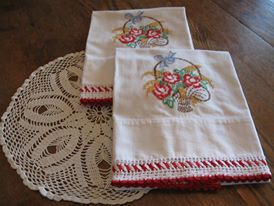 Pineapple House Antiques ~ Vintage Embroidered Flower Basket Pillowcases