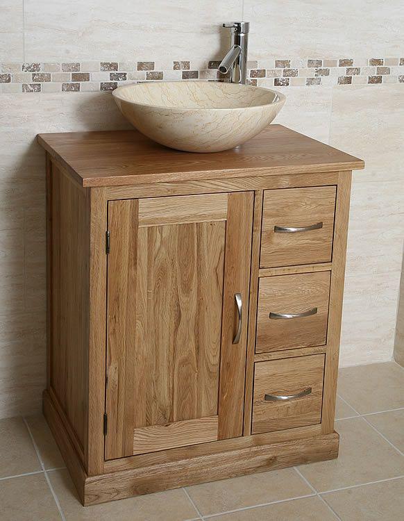 Oak Vanity Unit With Marble Sink Bathroom Prestige Click Image