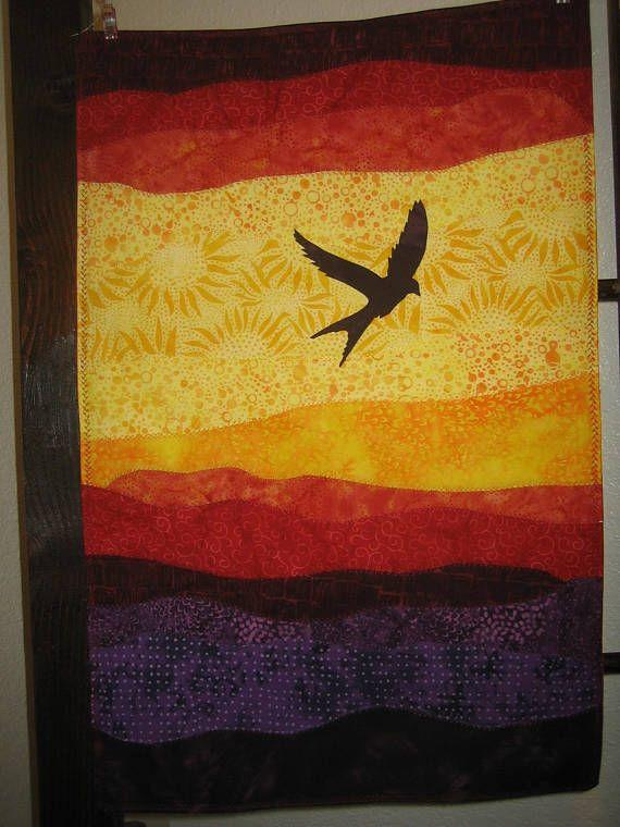 Batik Wall Art/ Sunset Wall Art/Swallow At Sunset/ Batik Sunset Art ...