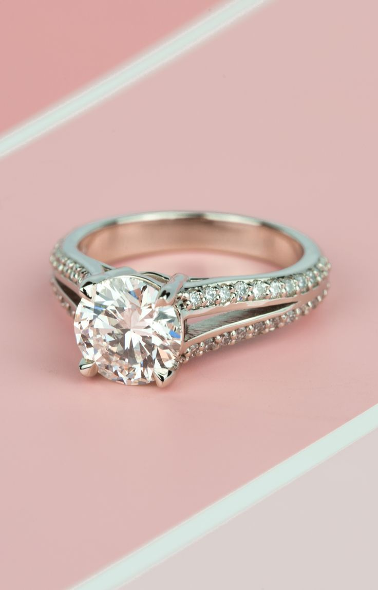 Pretty in Pink! Would you wear this sunning Split Shank Diamond ...