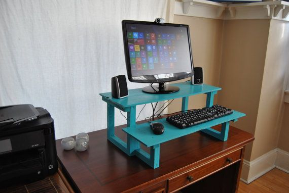 Standing Computer Desk Reclaimed Wood Turn Any Desk Or Table