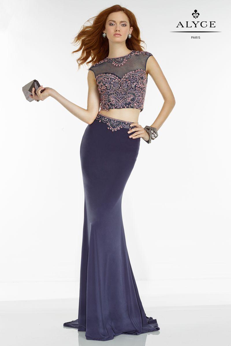 Dark purple, two piece prom dress designed by Alyce Paris. Style ...