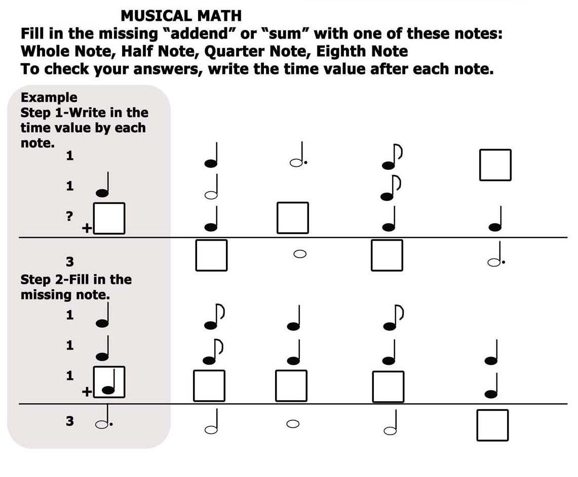 Worksheet Music Math Worksheets Piano Method Books