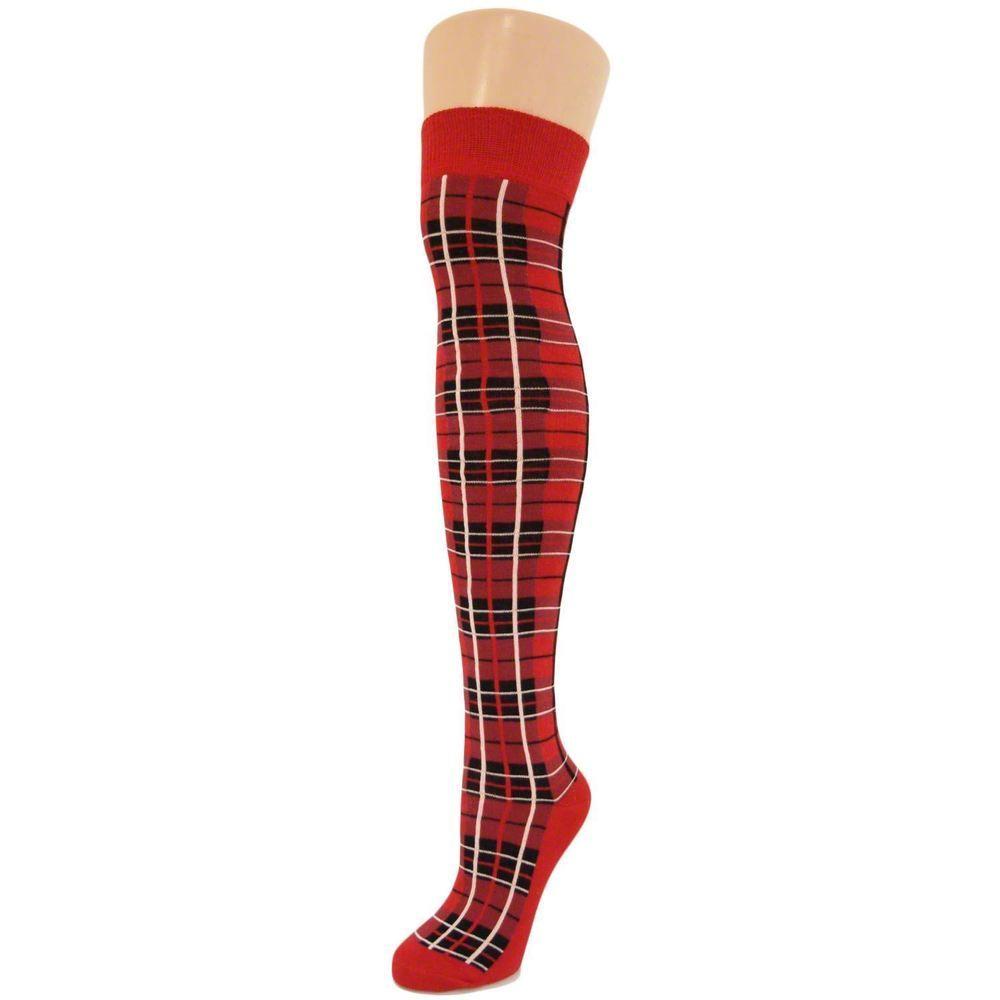 Ladies Over The Knee Tartan Socks