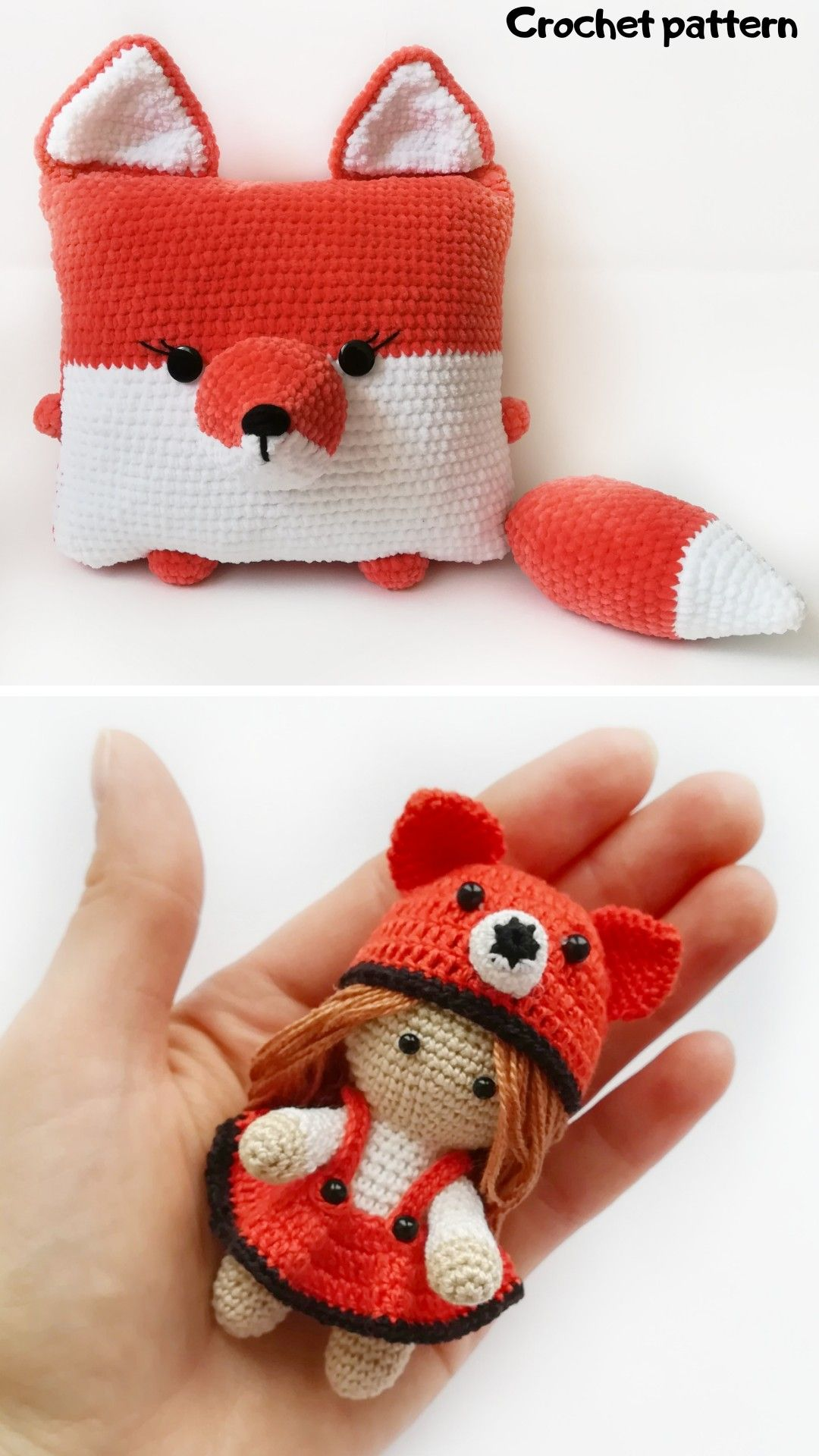 Crochet pattern doll, crochet tutorial, crochet fox pattern, amigurumi toys pattern, crochet pillow