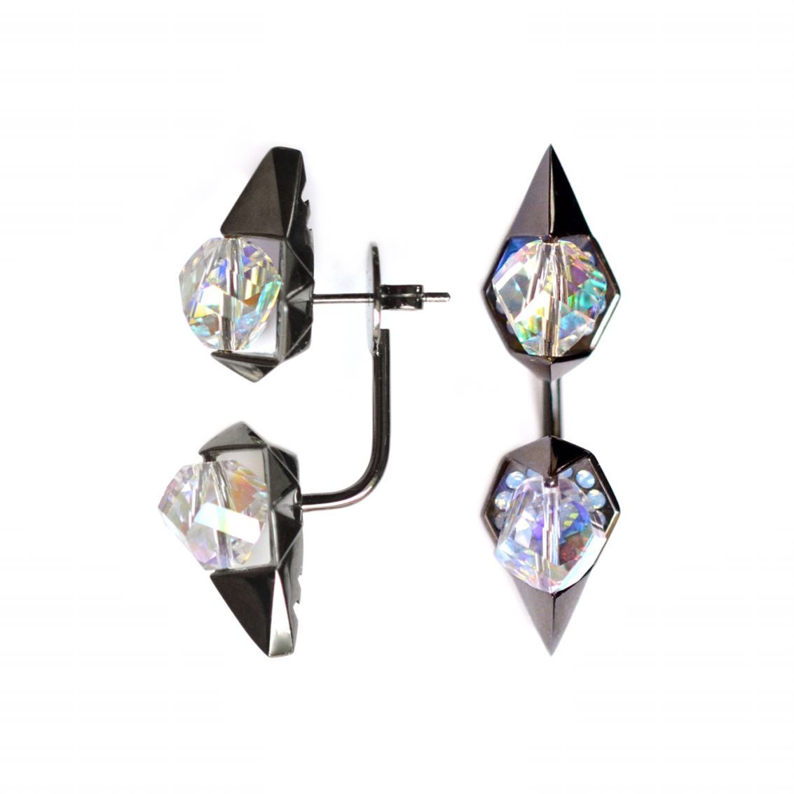 In Visible Long Earrings With Rotatable Swarovski To