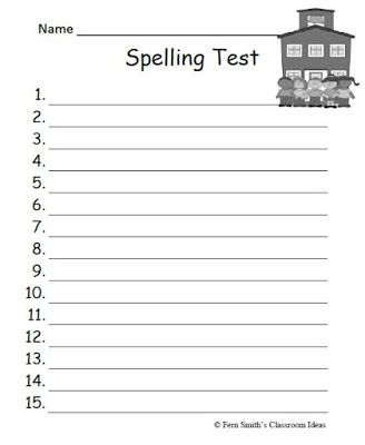 Fern smiths free year round blank spelling test sheets for both fern smiths free year round blank spelling test sheets for both 10 or 15 words pronofoot35fo Image collections