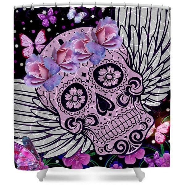 Sugar Skull Shower Curtain Purple Wings Flowers Butterflies ($60 ...