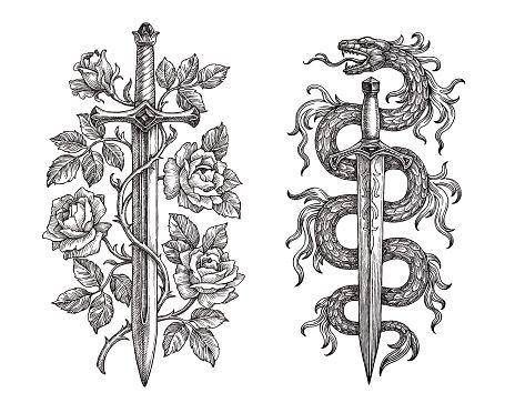 Hand Drawing Of Two Medieval Steel Blades On White Background Espadas Y Dagas Tatuaje Medieval Tatuaje Espada