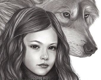 Renesmee and Jacob in werewolf form. What a great drawing ...