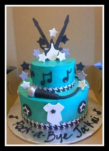 rock  a  bye baby shower cake. i like the stars and music notes, Baby shower invitation