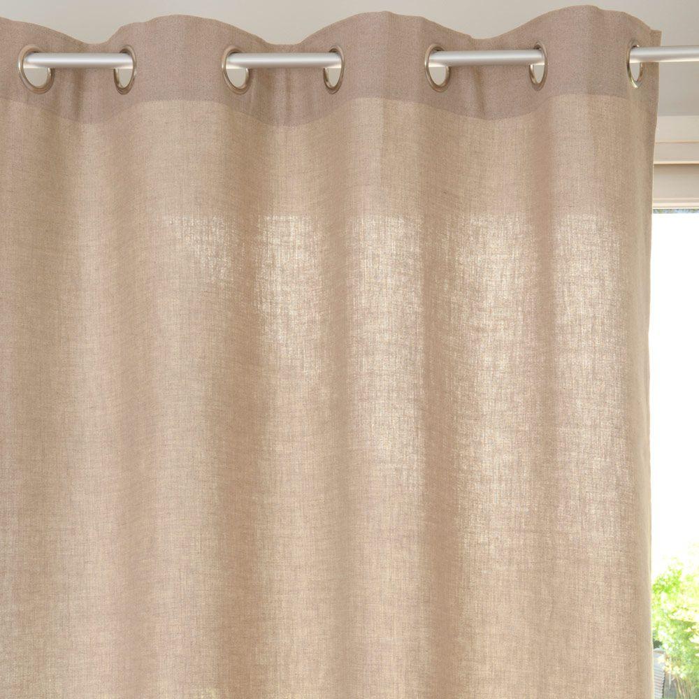 cortina con ojales de lino pesado beis 135 x 300 cm maisons du monde - Cortinas Lino
