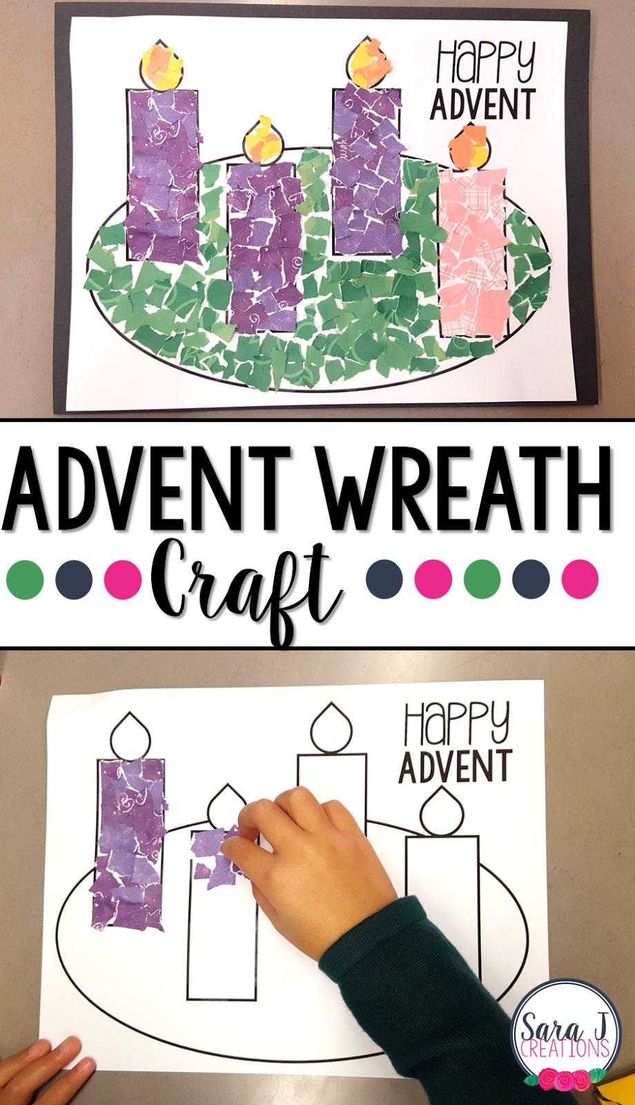 Advent Wreath Rip Art Craft