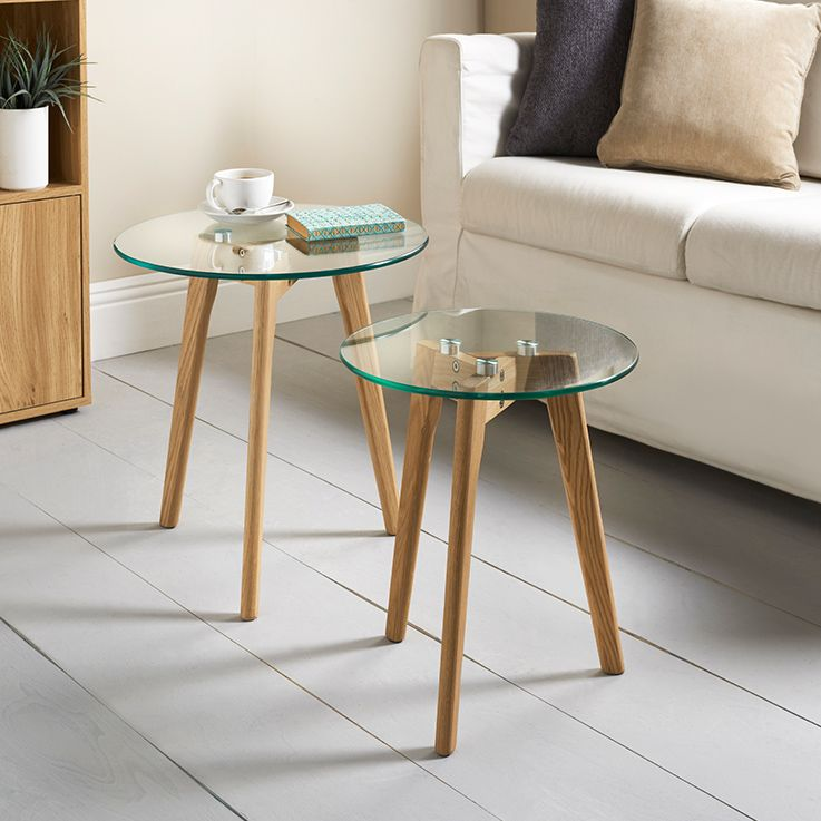 Aiden Table Set 2pc Small TablesSolid OakHome Living RoomClear Glass