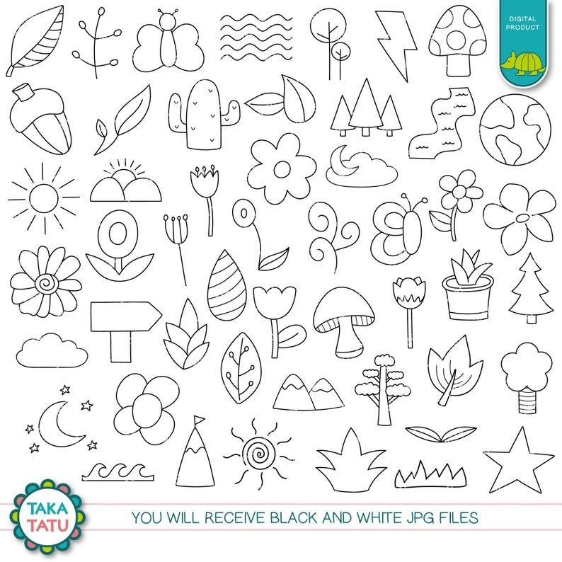 Nature Clipart Forest Digital Stamp Black And White Line Etsy In 2021 Digital Stamps Clip Art Black And White Lines