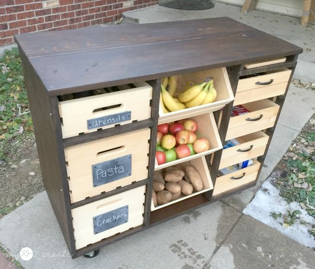Build an awesome Kitchen Island with pantry storage with crates and ...