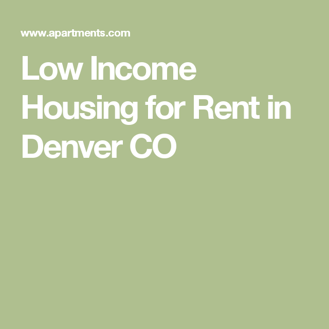 Low Income Apartments For Rent In Denver CO