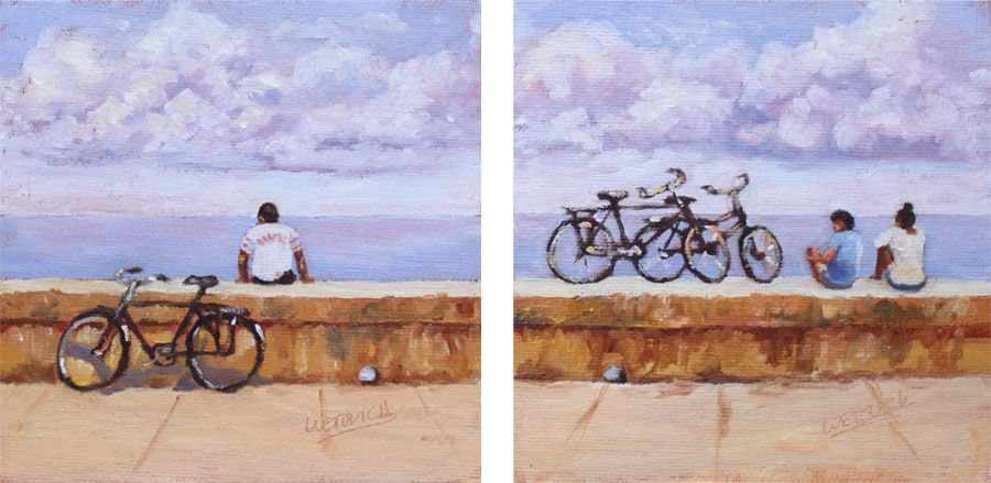 """Cuba: Through the Lens and Brush Show """"Malecon"""" 1 & 2  6x6 inch oils"""