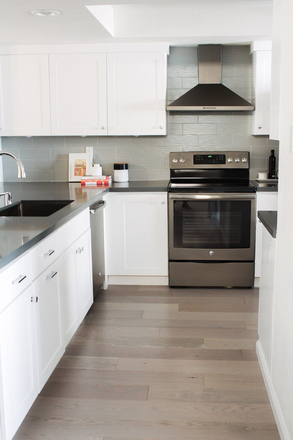 Small Kitchen Remodel By Eggshell Home White Shaker Cabinets Gray Quartz Countertops Ge