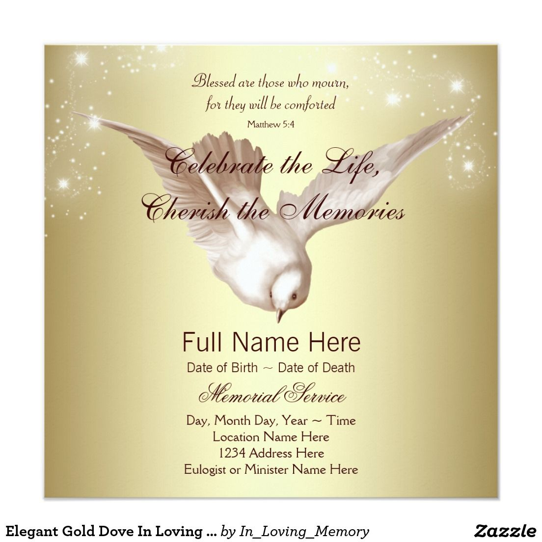Elegant Gold Dove In Loving Memory Memorial Invitation | Funeral ...