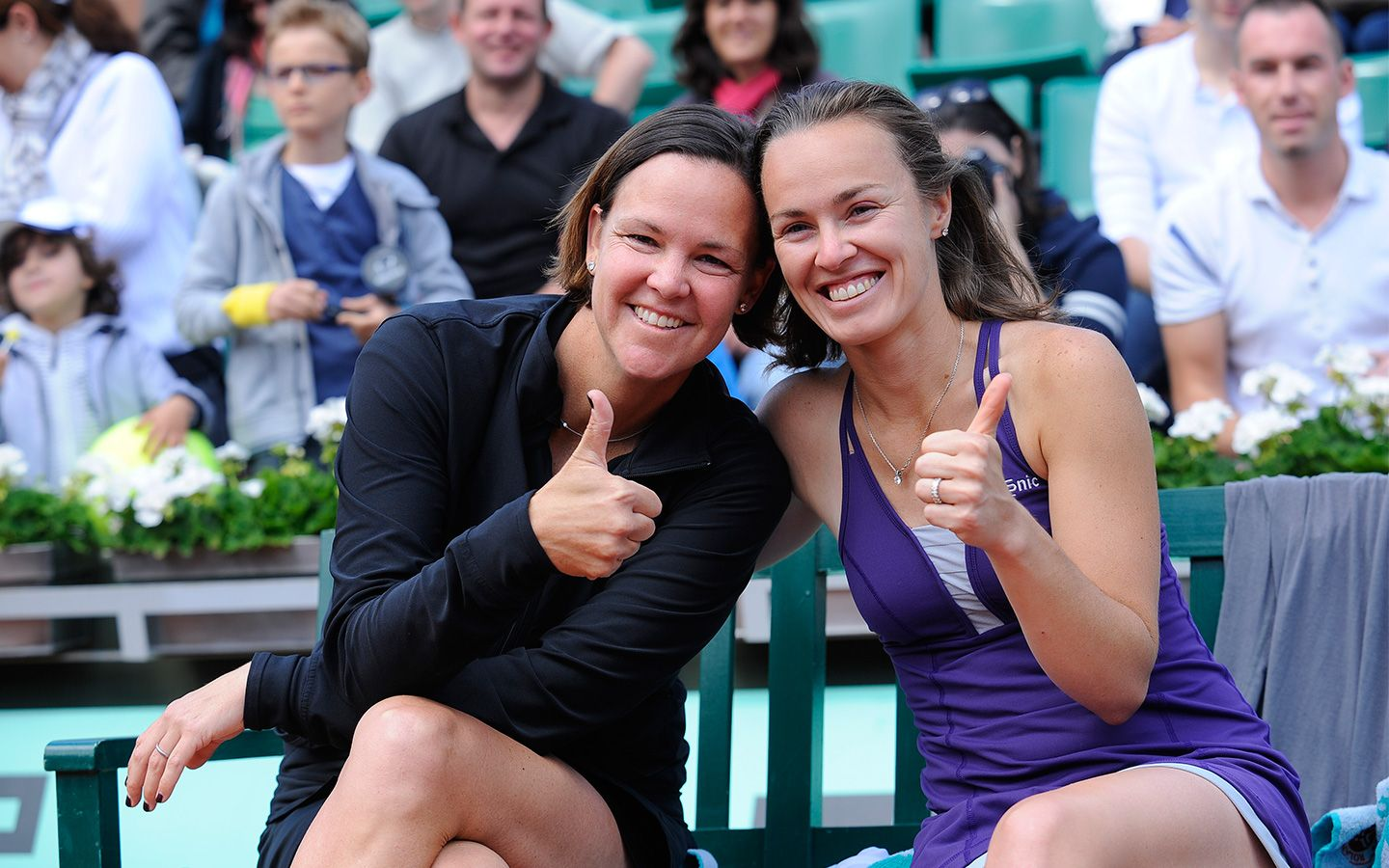 Lindsay Davenport and Martina Hingis are all smiles after taking