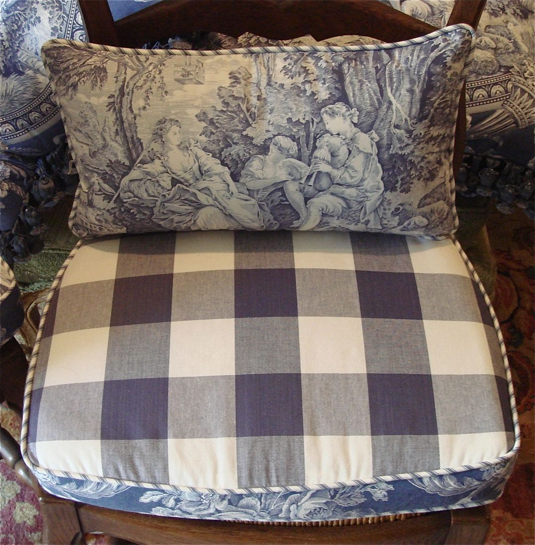 French Country Reversible Chair Pads Back Pillows