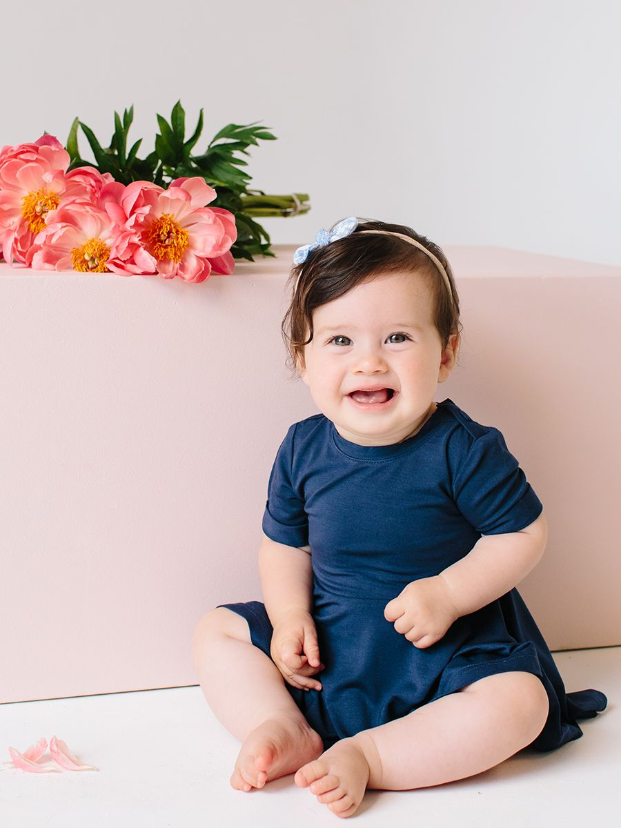 cc659599040ec bamboo jersey baby dress in navy