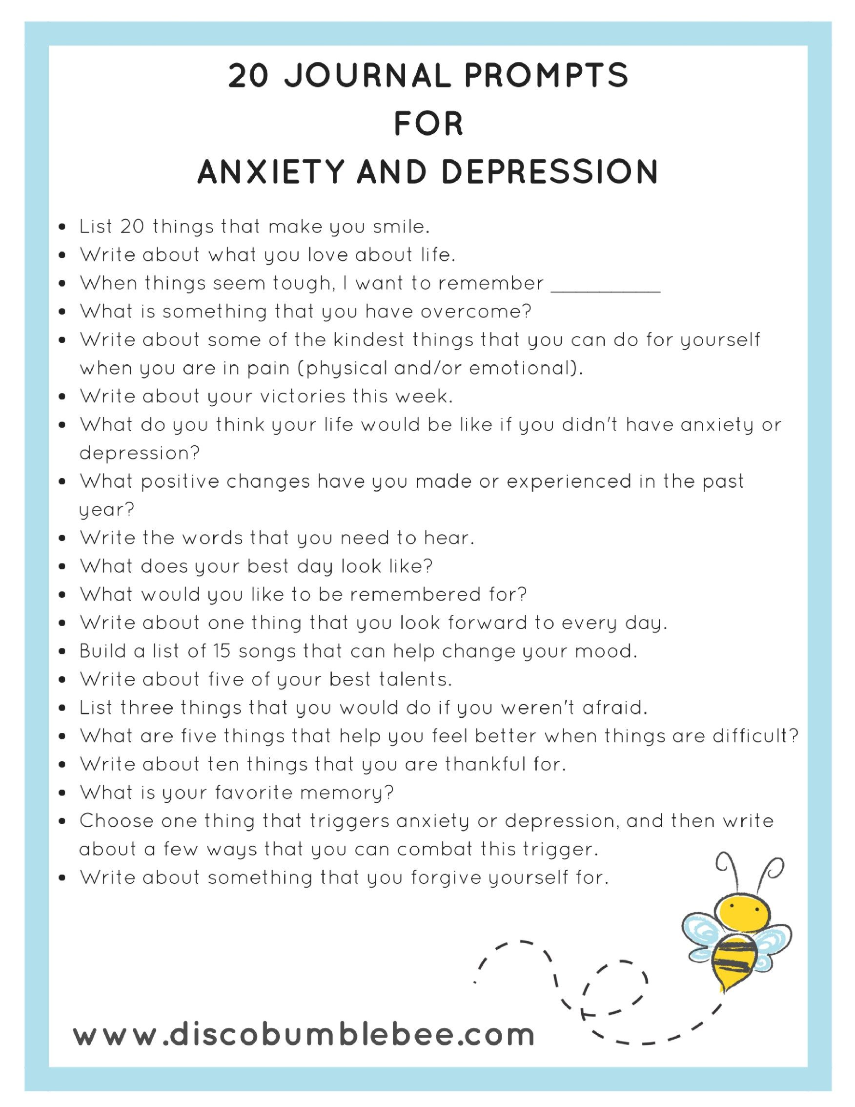 20 Journal Prompts For Anxiety And Depression In