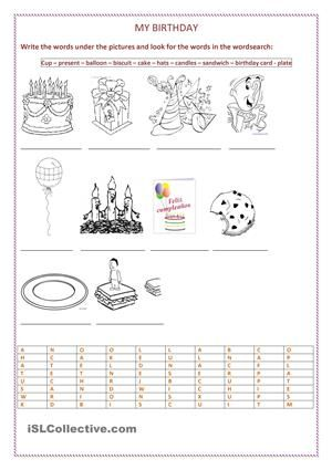 my birthday party party vocabulary and holidays vocabulary worksheets worksheets party. Black Bedroom Furniture Sets. Home Design Ideas