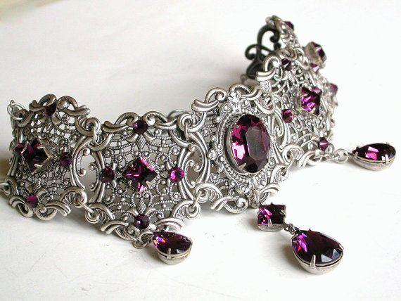 Purple Gothic Choker Amethyst Swarovski Crystal от LeBoudoirNoir