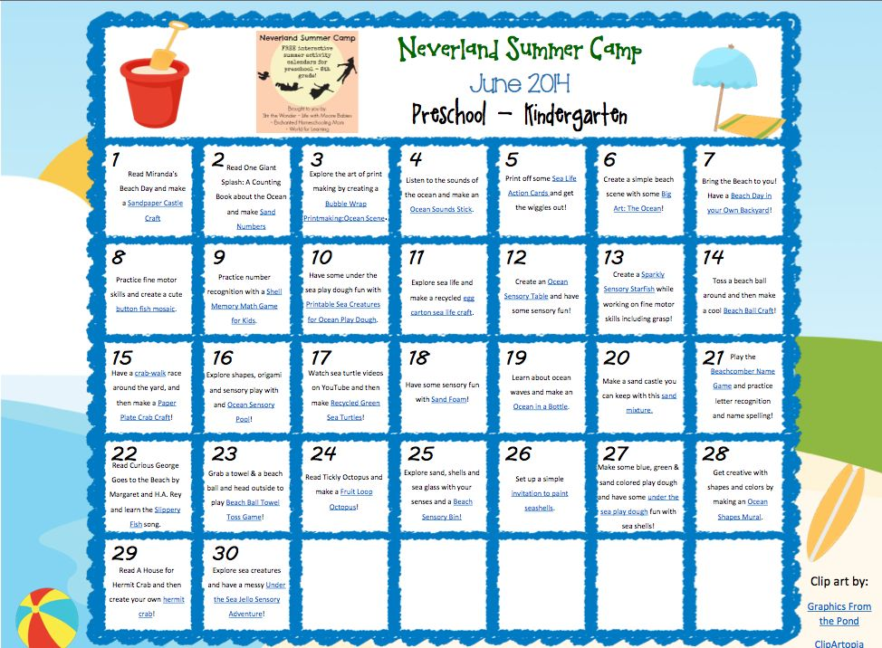 Kindergarten Calendar Activities : Neverland summer camp for preschool kindergarten june