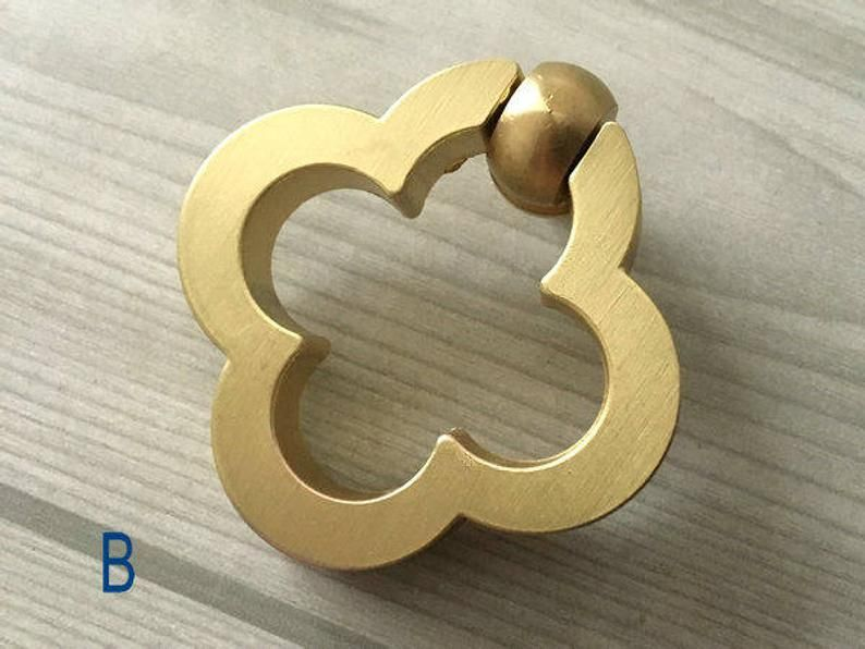 """CBH Chinese Brass Hardware Cabinet Ring Pulls 1.6/"""" Set of 2"""