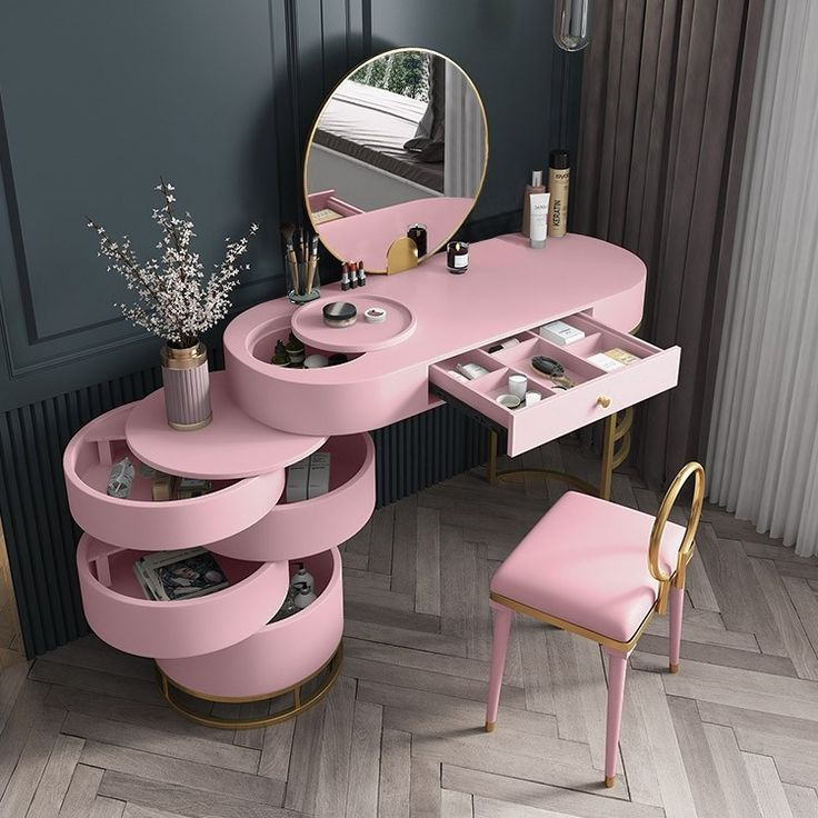 Pink Makeup Vanity Dressing Table with Swivel Cabi