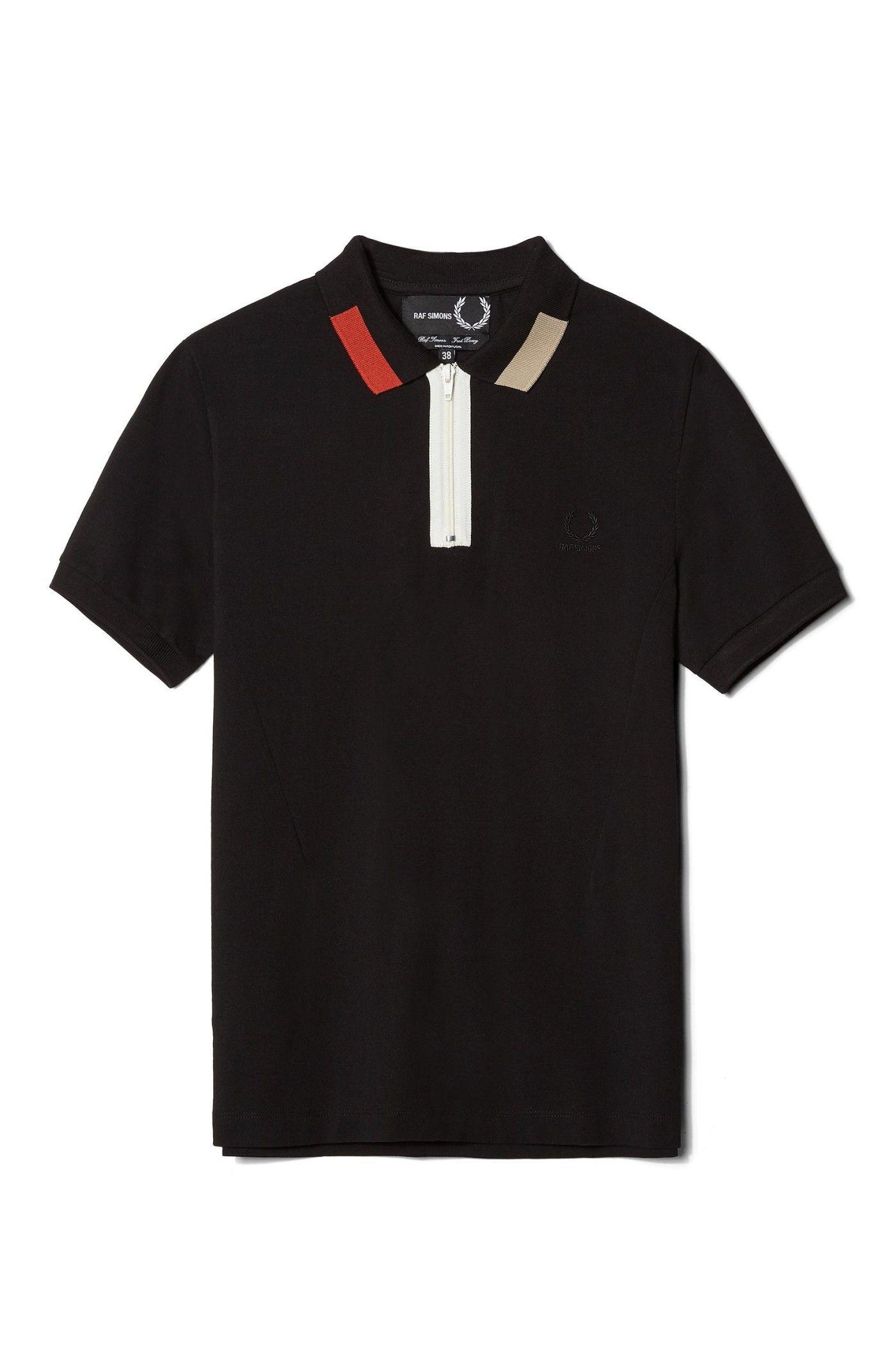 Shirt design and colour - Fred Perry Raf Simons Colour Block Pique Shirt Black