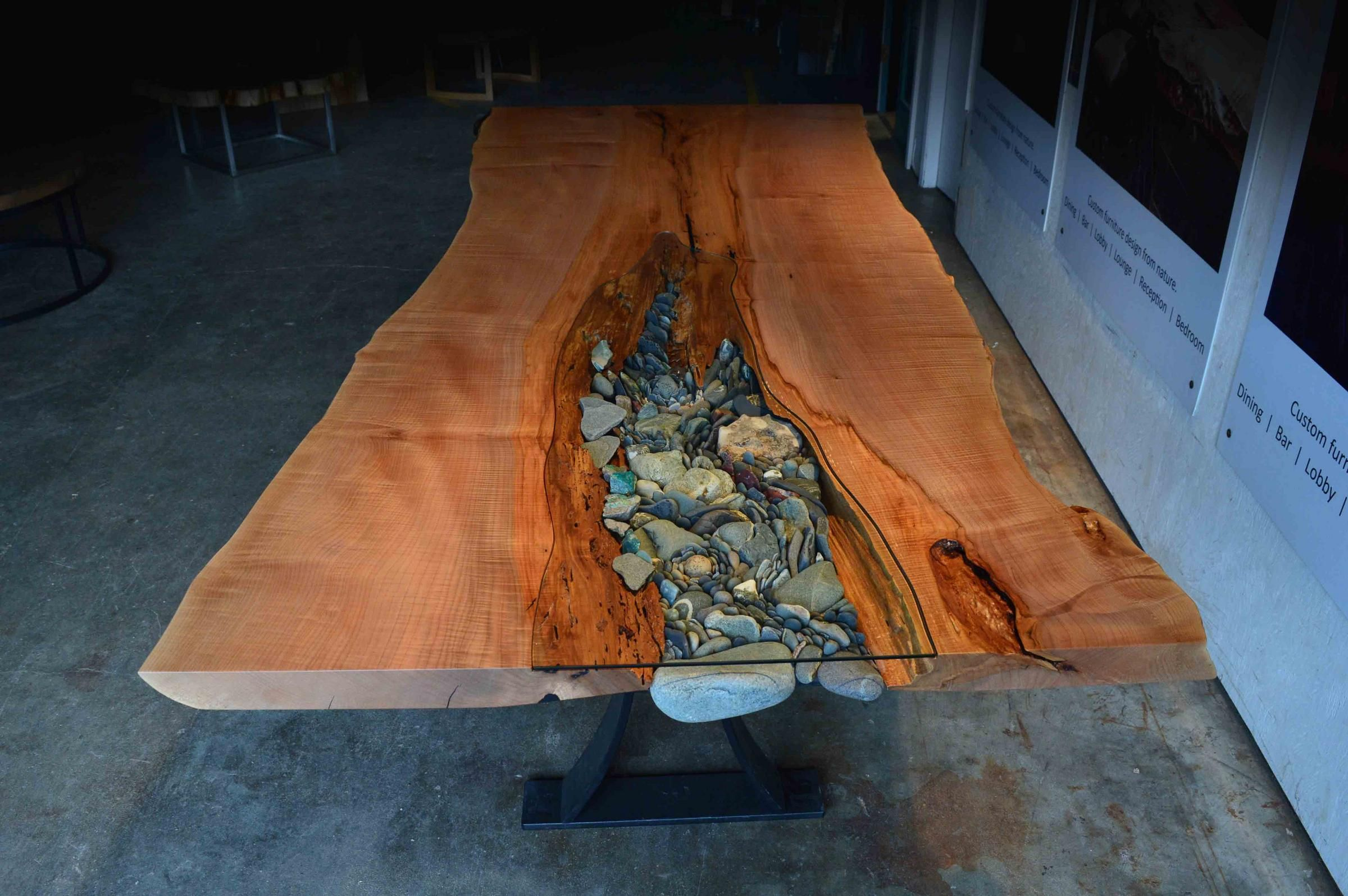 Live Edge And Rock Dining Table By Live Edge Design And Ancient