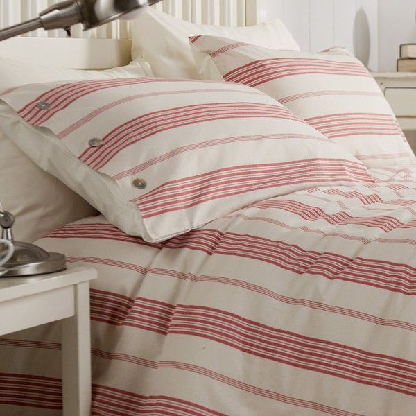 Gorgeous New England Style Duvet Red And Cream Striped Cover Set