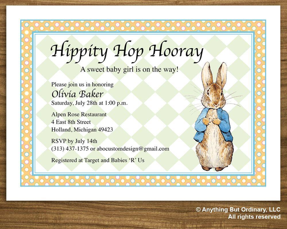 Peter Rabbit Baby Shower Invitation, Vintage Peter Rabbit invite ...