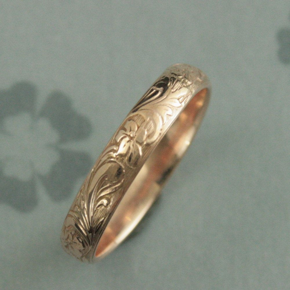rings image engraved ring img wedding floral fully scroll band dated carat design antique yellow gold