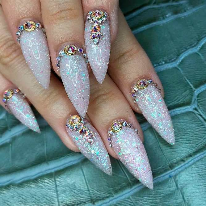 Fantabulous Pointy Nails Designs You Would Love to Have: Rhinestones ...