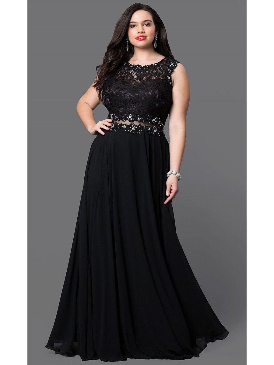 a-line lace jewel neckline long plus size prom evening