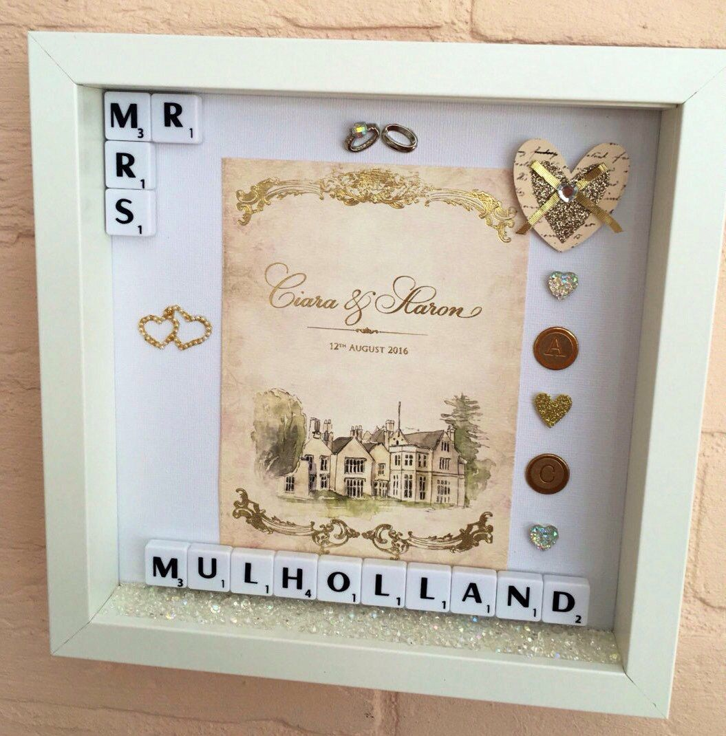 Wedding Invitation Keepsake Frame Personalised Gift Name Scrabble