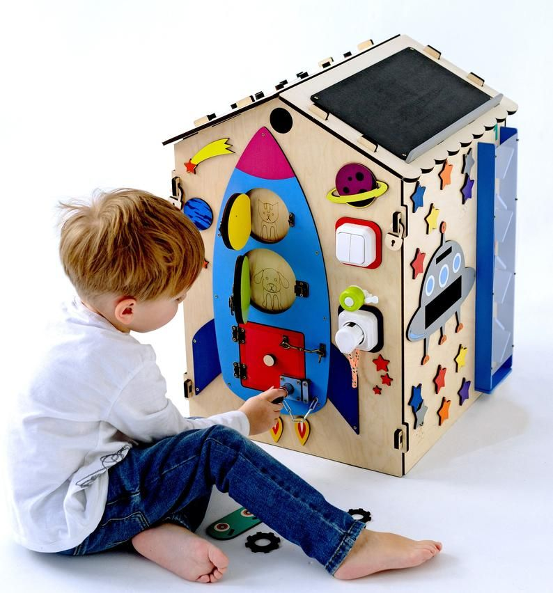 House LED busy board wooden toy Sensory Montessori Fine motor skills for toddlers /& babies busyboard gift busy house Activity