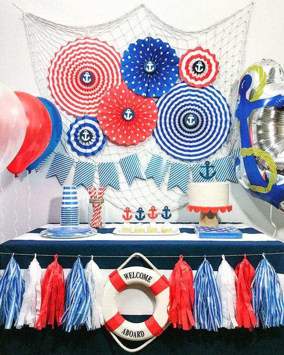 Details About Nautical Party Decorations Party Supplies Paper